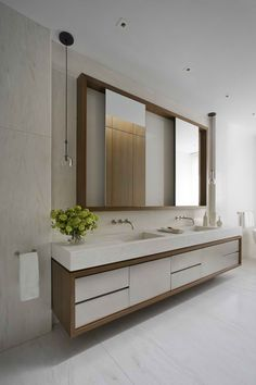 : Sensational Upper East Side Apartment Contemporary Bathroom Design With Modern Bathroom Vanities Furniture Ideas Modern Bathroom Mirrors, Bathroom Vanity Designs, Retro Bathrooms, Contemporary Bathroom Designs, Bathroom Ideas, Vanity Bathroom, Master Bathroom, Mirror Vanity, Mirror Trim