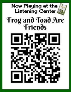 QR Code for Frog and Toad Are Friends! We all love listening to stories, don't we? This template brings in some favorite first grade read alouds with QR Code posters for your Firsties to scan and listen to while at the Listening Center. Included are some recommended QR scanners I've used (in case you haven't downloaded one onto your smart devices for students), and 7 favorites. Enjoy!