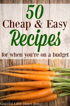 Check out this ultimate round up of 50 cheap and easy recipes for when you're on a budget. You will save a TON of money when you use this list to meal plan!