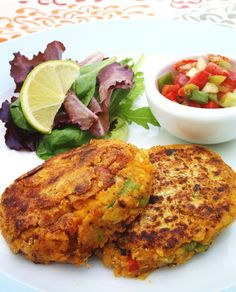 Chickpea Fritters with Pepper Salsa