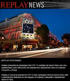 Galleries Lafayette and Replay unique Paris