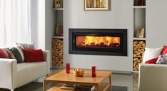 Studio Steel XS Inset Wood Burning Fires – Stovax built-in fires - Wood Burning Fireplace Inserts Inset Fireplace, Wood Burner Fireplace, Wood Burning Fireplace Inserts, Freestanding Fireplace, Modern Fireplace, Fireplace Surrounds, Inset Log Burners, Fireplace Insert Installation, Wood Burning Insert