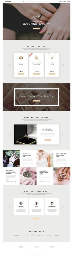 - Luxury Jewelry Online Store Multipage HTML Website Template DiamondShop is a fully responsive Jewelry Catalog Website TemplateDiamondShop is a fully responsive Jewelry Catalog Website Template Web Design Trends, Web Design Tips, Flat Design, Design Ideas, Layout Design, Web Layout, Website Layout, Wireframe, Mise En Page Web