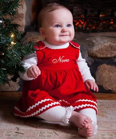Red Corduroy Personalized Jumper - Infant, Toddler & Girls by Princess Linens #zulily #zulilyfinds