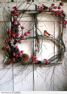 Rustic Christmas window wreath with berries and bird. (old windows from rental house) Noel Christmas, Christmas Projects, Winter Christmas, Holiday Crafts, Outdoor Christmas, Christmas Ornament, Christmas Berries, Country Christmas, Christmas Images