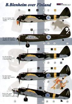Bristol Blenheims over Finland (6) Mk.I (5) BL-111; BL-117; BL-189 2 versions; BL-189. Mk.IV BL-201. All in variations of dark green/black camouflage schemes with yellow fuselage bands and wing tips