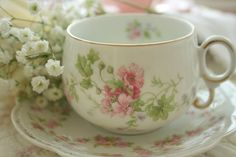 Pink, Green & White Tea Set