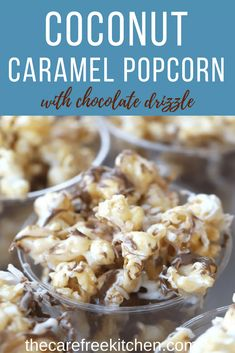 This coconut caramel popcorn recipe is a step-by-step guide, I will show you how make the most delicious coconut caramel popcorn! It has layers of flavors, toasted coconut, coconut flavored caramel, and a chocolate drizzle! Snack Mix Recipes, Popcorn Recipes, Yummy Snacks, Snack Mixes, Flavored Popcorn, Popcorn Snacks, Pop Popcorn, Yummy Treats, Homemade Popcorn Seasoning