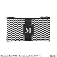 Monogram Black/White Chevron Stripe Cosmetic Bag. Regalos, Gifts. #clutch #estuches #DiaDeLasMadres #MothersDay