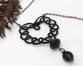 Tatting heart necklace - Black Heart  - tatting lace pendant in black with brass chain, Valentine's Day gift