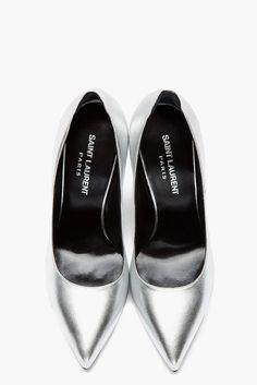 @Courtney LaLa + form Saint Laurent // Silver Heel Tab Paris Pumps