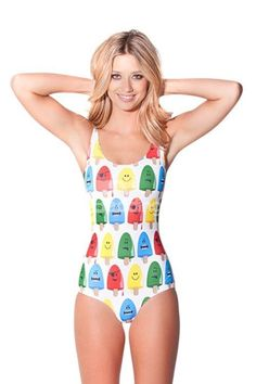 9307783d04 Cute U-neck 3D Forzen Sucker Pattern One-piece #Swimwear Monokini, White