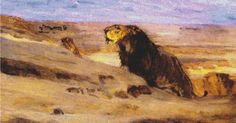 Lions in the Desert Cross Stitch Pattern