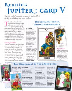 Reading the Jupiter card (The Hierophant)