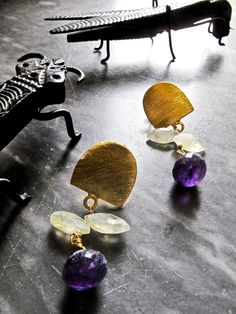 ISLA S/SUMMER 2014 - Earrings with Prenight and Amethist- gold plated