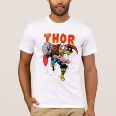 Thor Retro Comic Price Graphic T-Shirt - Check out this vintage comic book art of Thor throwing his hammer, overlaid atop the retro comic book price info. themed design by - Vintage Comic Books, Vintage Comics, Comic Books Art, Book Art, Colorful Shirts, Shirt Designs, Graphic Tees, Retro, Mens Tops