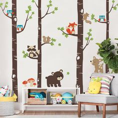 Redecorate a blank wall in your little ones room with our Birch Trees and Cute Forest Animals decal set. Kids will love being surrounded by cute animals and nature! All decals are separate pieces, so you can be creative with the arrangement and trim the trees to fit your wall perfectly.