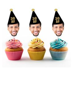30 AF Cupcake Toppers with Face and Birthday Hat Thirtieth 40th Birthday Cupcakes, 30th Birthday For Him, Surprise 30th Birthday, Thirty Birthday, 30th Party, 30th Birthday Parties, Man Birthday, Birthday Surprises, Birthday Sayings