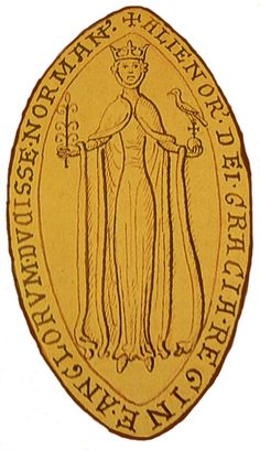 The obverse of Eleanor of Aquitaine's seal. She is identified as Eleanor, by the Grace of God, Queen of the English, Duchess of the Normans. The legend on the reverse calls her Eleanor, Duchess of the Aquitanians and Countess of the Angevins.