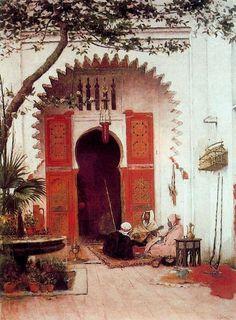 Three Arabs In A Courtyard, Oil by Alberto Pasini (1826-1899, Italy)