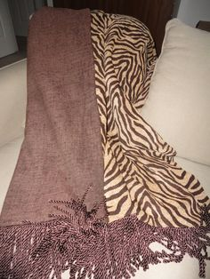 Zebra Jungle Throw Blanket Chocolate ChenilleAnimal by AlexsAttic
