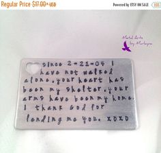 Hand Stamped Wallet Card Aluminum Wallet Insert Anniversary Gifts For Men Husband Gifts Boyfriend Presents Personalized Gift