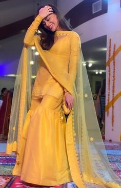Buy Yellow Color Sharara Suit by Akanksha Singh at Fresh Look Fashion Pakistani Fashion Party Wear, Pakistani Formal Dresses, Pakistani Wedding Outfits, Pakistani Dress Design, Indian Fashion, Fancy Wedding Dresses, Designer Party Wear Dresses, Kurti Designs Party Wear, Indian Designer Outfits