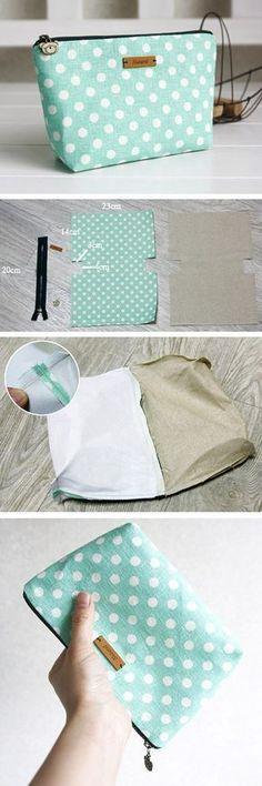 Natural linen and cotton cosmetic bag, linen zipper pouch. DIY tutorial in pictu. - Natural linen and cotton cosmetic bag, linen zipper pouch. DIY tutorial in pictures. www. Sewing Hacks, Sewing Tutorials, Sewing Crafts, Sewing Projects, Sewing Patterns, Sewing Tips, Bag Tutorials, Bag Patterns, Bags Sewing