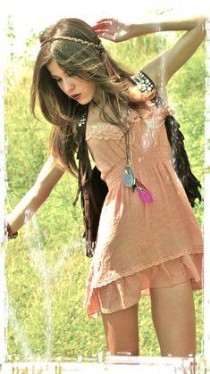 love the whole look - dress, vest, braid...hippie love