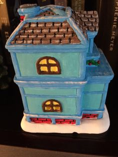 ceramic house, painted ceramic, blue house, Christmas Village 2014