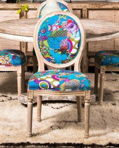 Kantha Patchwork dining chair of neoclassic form in limed oak, and covered in printed cotton from Rajasthan with kantha stitching. Eclectic Dining Chairs, Dining Room Chairs, Chair Leg Floor Protectors, Leather Chair With Ottoman, Wooden Stools, Love Seat, Cushions, Furniture, Home Decor