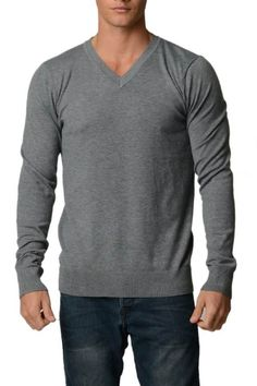 Check out our Charcoal Grey Melange Cotton V-Neck Slim-Fit Sweater for guys! #fashion #shop - Fashion Outlet NYC