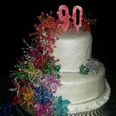 Cake Reposteria Anayansis S.A Celebraciòn 90 años pastel con Caida de tembleques Panameños