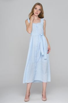 Baby Blue Eyelet Button Up Midi Dress - (Price: $104.00)      #fashionstyle #fashionweek #fashionable #stores #style  #shopping #dressesonline #dress #womens #womenstyle #suits