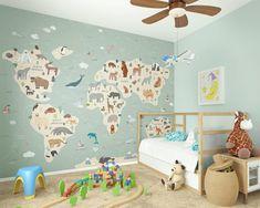 Children's World Map Animal Wallpaper Mural Educational   Etsy