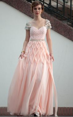 Peach Sweetheart Neck Cap Sleeve  Floor Length  Gowns Evening Dress