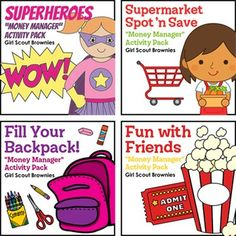 "Brownies learn to manage money wisely with this printable paper activity pack bundle designed to fulfill all five steps of the Money Manager badge with minimal supplies, ink and time.This scouting helper bundle includes:Superheroes - Girl Scout Brownies - ""Money Manager"" Activity Pack (Steps 1 & 3)Supermarket Spot 'n Save - Girl Scout Brownies - ""Money Manager"" Pack (Step 2)Fill Your Backpack! - Girl Scout Brownies - ""Money Manager"" Activity Pk (Step 4)Fun with Friends - Girl Scout Browni..."