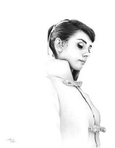 Hepburn Waiting by James Mylne l #blackandwhite #artwork #ballpointpen