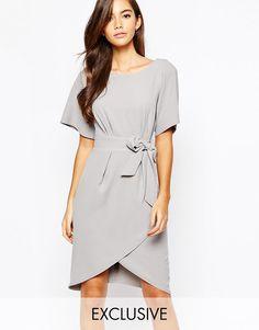 Closet+Tie+Front+Dress+With+Kimono+Sleeve