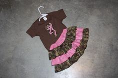 Baby Girls Browning deer Camo and pink Outfit - Ruffle Skirt with Matching Shirt - skirt sizes Newborn to 4t with shirt size or onesie. $28.00, via Etsy.