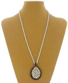 Teardrop Black White Enamel Mod Pendant Necklace Festival Wear Jewelry    eBay NOS