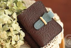 Handmade vintage rustic retro sweet cute pretty beautiful leather small cards wallet pouch purse for women/lady girl