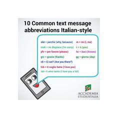 SMS text abbreviations in Italian! #learnitalian with Studio Italia http://www.accademiastudioitalia.com/