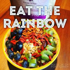 #variety is #vitality so #eattherainbow #mothernature style with a #PurpleGrindz #acaibowl topped with colorful toppings like #kiwi #blueberries #gojiberries #coconutchips and more. Da Grindz is hand-crafted #plantbased #nutrition made from 23 #nutrientdense #botanical ingredients for #CompleteProtein #vitamins #minerals #phytonutrients and #antioxidants with a slightly-exotic flavor derived from #superfoods. #blend & #thrive click to shop now!
