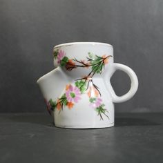 Antique Shaving Scuttle Mug with Hand Painted by Hallingtons