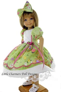 Effner Little Darling Dress,Hair Bow. Effner Little Darling models Spring dress & Hair Bow. Dress has short puffed sleeves, contrasting bodice with eyelet at front waist; full skirt trimmed in baby ric rac; attached lace trimmed slip; back closes with snaps. | eBay!