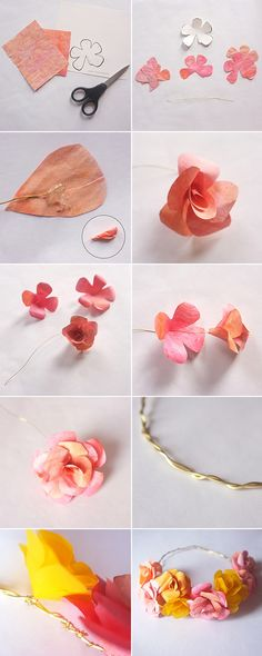 paper flower crown tutorial by winnie Flower Crown Tutorial, Diy Flower Crown, Diy Crown, Floral Crown, Flower Crafts, Diy Flowers, Craft Tutorials, Diy Projects, Hawaian Party