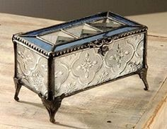 Stained Glass Keepsake Box with Antique Raised Legs