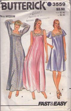 MOMSPatterns Vintage Sewing Patterns - Butterick 3559 Vintage 80's Sewing Pattern LOVELY Modest Comfortable Flared Vanity Fair Style Nightgown, Square Lace Yoke, Short or Long Size M Coat Patterns, Dress Patterns, Pajama Pattern, Bra Pattern, Nightgown Pattern, Vintage Nightgown, 20th Century Fashion, Vintage Sewing Patterns, Sewing Ideas