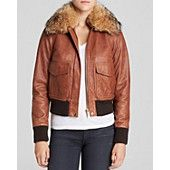 MICHAEL Michael Kors Coyote Fur Collar Bomber Jacket